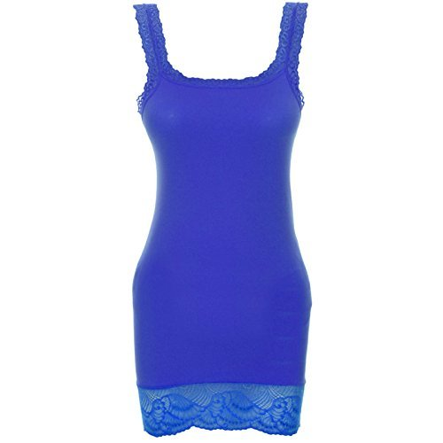 Damen Tanktop Lang Top Long Shirt Spitze Urban Lang Hemd Bandeau Oberteil 20653 Blau