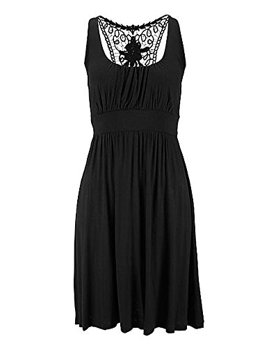 Damen Elegant Rundhals Trägerkleid Cocktailkleid Spitzen Faltenrock Kleid Schwarz