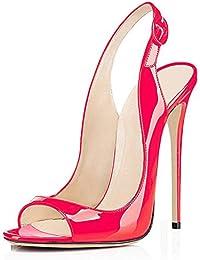 elashe -Scarpe col Tacco con Cinturino a T Donna - Classiche Scarpe col  Tacco - 2dcb69ad06b