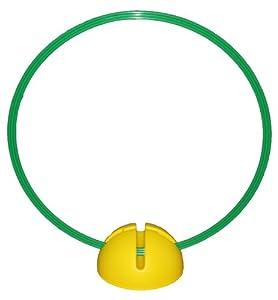 agility sport pour chiens - socle multi-fonctions remplissable, jaune, avec cerceau Ø ca. 60 cm, vert - 1x xsyR60g