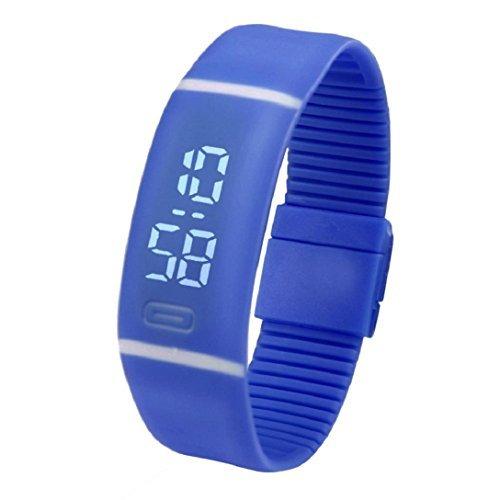 Kolylong? Unisex Gummi LED Uhr, Datum, Sport, Armband, Digital-Armbanduhr Blau