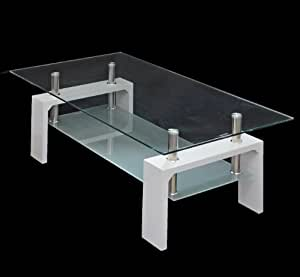 Table en verre table basse table en blanc brillant 120 x 65 cm