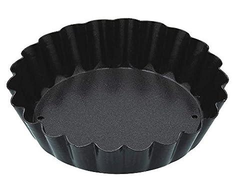 Kitchen Craft 8 cm-Fond amovible-Anti-adhésif-Mini Moule à tarte-Bord cannelé-Noir