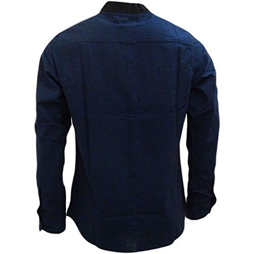 Brave Soul - Chemise casual - Uni - Col Boutonné - Manches Longues - Homme Bleu - Bleu marine