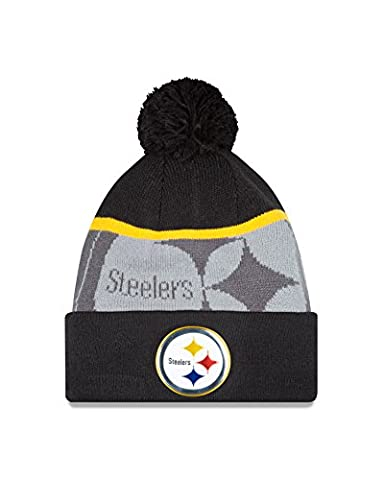 NFL Pittsburgh Steelers Gold Collection Team Color Knit Beanie, One Size fits All, Black/Gray