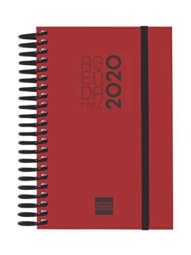 Finocam - Agenda 2020 1 día página Espiral Free Rojo español