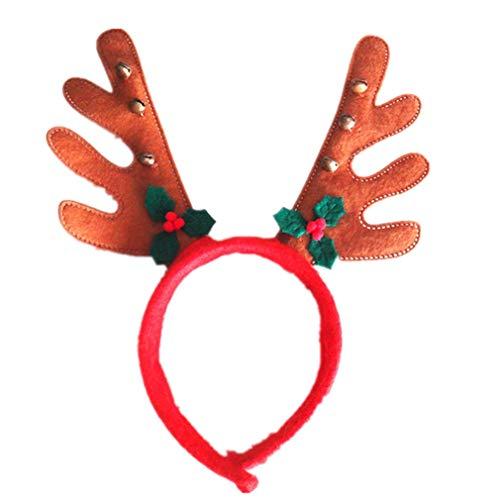 Pinhan Cartoon Weihnachten Elch Horn Geweih Stirnband Head Hoop Cute Christmas Halloween Haarschmuck für Weihnachtsfeier (Cute Make-up Halloween)