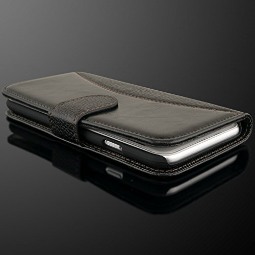 iPhone 6 6S Coque Portefeuille de NICA, Ultra-Fine Wallet-Case Housse Protection Smartphone Flip-Cover Etui Pochette en Cuir Vegan, Slim Bumper Mince pour Telephone Portable Apple iPhone 6S 6 - Marron Noir