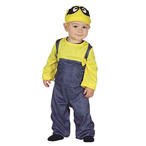 Guirca Costume Minions Neonato 12/24 Mesi, Colore Giallo e Blu, 1-2 Anni (92-93 cm) 87625