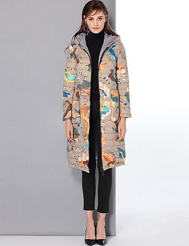 Xuanku Mary Yan & Yu Women's Long Down Coat,Vintage Chinoiserie Going out Casual/Daily Print-Nylon White Duck Down Long Sleeves