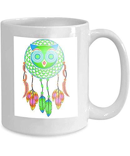 taza café taza de té atrapasueños búho decorativo plumas de colores semitono 110z