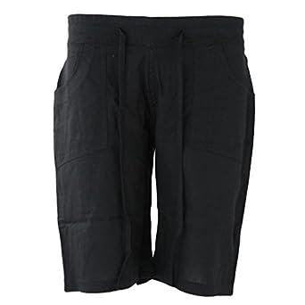 Ladies Summer Knee Length Linen Shorts Womens Elasticated Waist ...