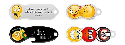 Code24 Einkaufswagenlöser, Set NEU, 4 x Schlüsselanhänger mit Einkaufschip & Schlüsselfinder, inkl. Registriercode für Schlüsselfundservice, multifunktionale Einkaufswagenchips, Key-Finder, Set
