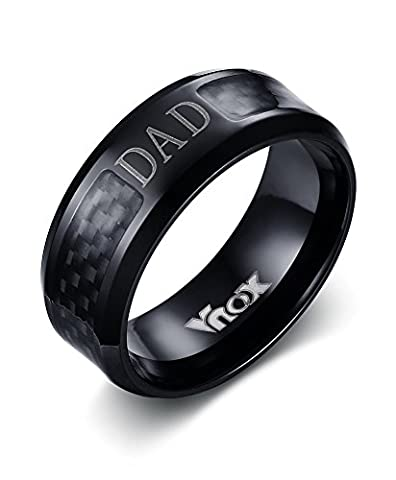 Vnox Men's Stainless Steel Carbon Fiber Inlay DAD Father Band Ring Black,8mm Width,UK Size T 1/2