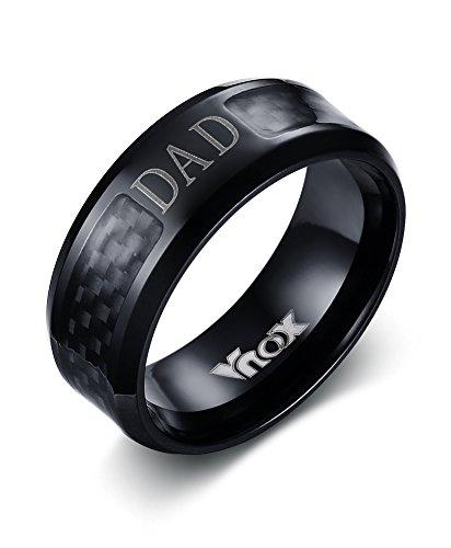 Herren Große Kohle (Vnox Herren Edelstahl Carbon Faser Einlage DAD Vater Band Ring Schwarz,8mm Breite)