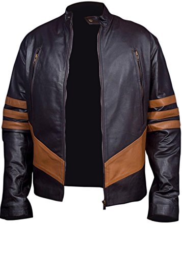 X-Men Wolverine Origins Bomber Style Brown Real Leather Jacket Logans XO