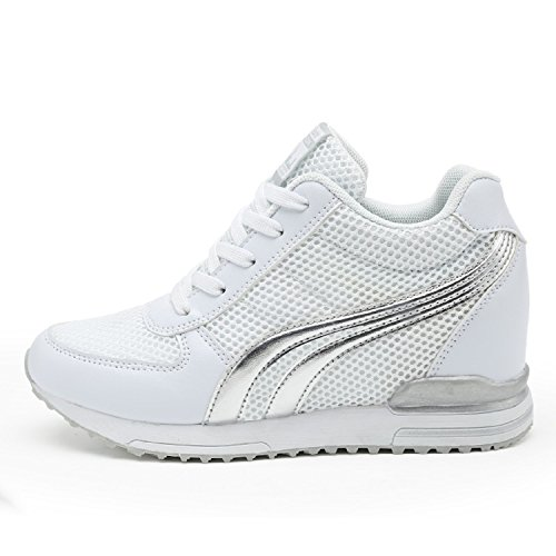 AONEGOLD® Sneakers Zeppa Interna Donna Scarpe da Ginnastica Basse Sportive Fitness Tacco Zeppa 7 CM Nero Bianco Grigio(Bianco,37 EU)