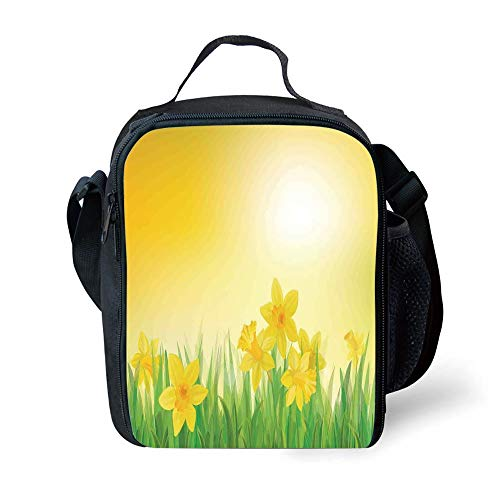 School Supplies Daffodil Decor,Daffodil Flowers On Spring Meadow Countryside Nature Sun Illustration,Yellow Green for Girls or Boys Washable - Spring Meadow Green