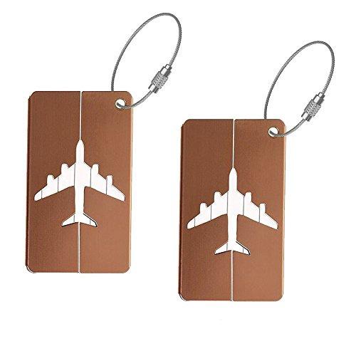 Zedtom 2 Stück Kofferanhänger Gepäckanhänger Namensschilder aus Aluminiumlegierung-Braun