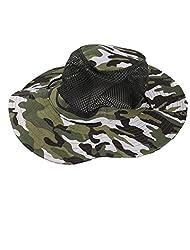 Generic Unisex Round Brim Camouflage Print Adjustable Strap Mesh Bucket Hat Cap