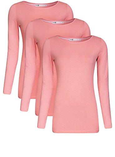 oodji Collection Damen Langarmshirt (3er-Pack) Rosa (4100N)