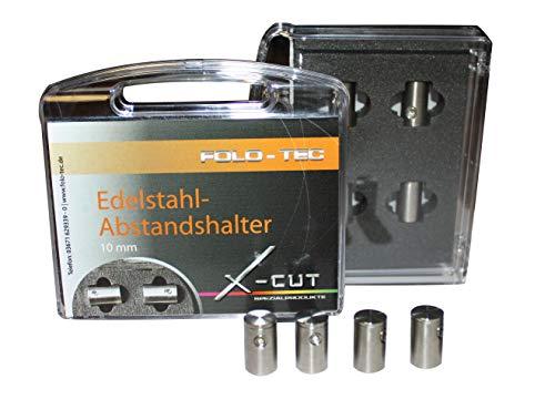 X-Cut Abstandshalter Schilderbefetsigung aus Edelstahl 10 mm Set aus 4 Stück inklusive Zubehör einfache edele Befestigung von Schilder Bildern -