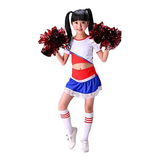 YAGATA Mädchen Cheerleader Kostüm Kinder Cheerleader Rock Cheerleader Uniform Allerheiligen Kostüm mit 2 Pompoms und Socken Cheerleader Bekleidung für Fasching und Partys,Blau,130 (Blauer Cheerleader Kostüm Kinder)
