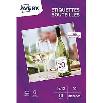 Avery 40 Etiquettes pour Bouteilles - 120x90mm -  Impression Jet d'Encre - Blanc (C9269)