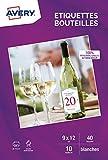 Avery - C9269-10 - Étiquettes pour bouteilles : 40 Étiquettes - Mates jet d'encre - 120x90 mm