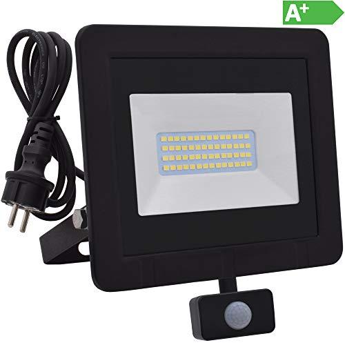 Lumare 30W LED Strahler mit Bewegungsmelder und Anschlußstecker 3600lm außen und innen IP65 ersetzt ca. 300W mini Flutlicht Lampe 3000K warmweiß 230V - Ca 3000