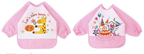 Chilsuessy 2pcs Wasserdicht Ärmellätzchen Nässeschutz Babylätzchen Langarm abwaschbar mit Auffang-Tasche Baby Latz 1 bis 3 Jahre alt, Pink