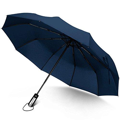 Taschenschirm Automatik Windfester Sturmfest Regenschirm Groß mit 10 verstärkten Rippen Wasserabweisend eflon-Beschichtung,Klein Leicht Kompakt Stabiler Schirm Rutschfester (Blue)