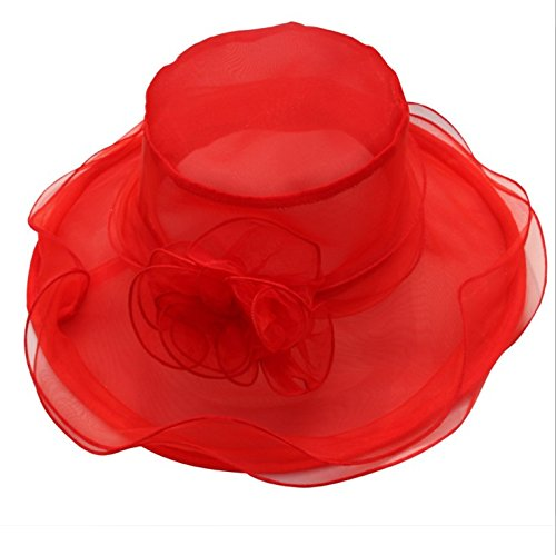 Upper-Nouveau mesh visor retro double organza se replie le long de la hat Lady Mesh Red 1