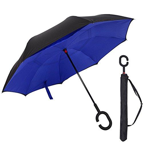 Inverso Doppio Strato Ombrello, Earthbay a Forma Di C Con Manico, Inverted Ombrello le migliori compatto da viaggio Ombrello per l'auto (Blu Marina)