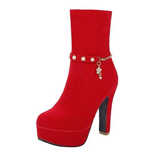 Mee Shoes Damen Reißverschluss Nubukleder Plateau high heels Stiefel Rot