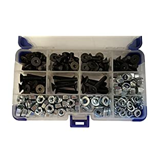 AHC K-10035 370Pc Black Countersunk Socket Setscrews with Washers and Nuts M6 6MM
