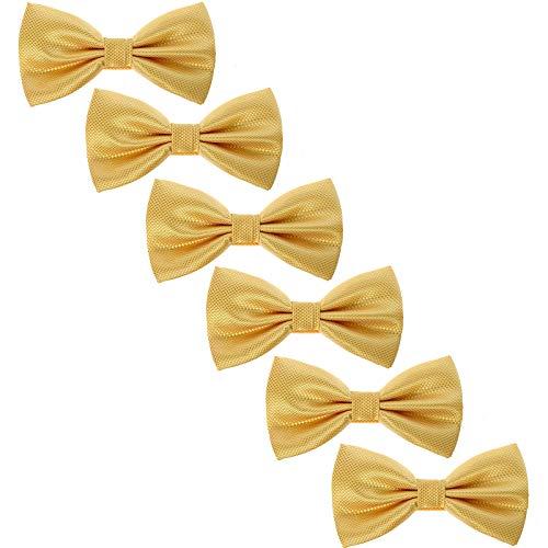 unden Formal Fliegen - Solide Plaid Einstellbar Krawatte zum Teenager Männer Hochzeit Parteien(Gold Plaid) ()