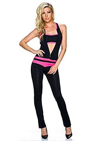 Crazy Age Damen Overall Jumpsuit Einteiler One Piece mit Bandeau Top | Racer Back, langer Zipper, enger Schnitt | Farbe rosa Größe 34 - 36