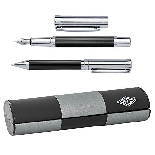 Wedo 260551326 Schreibset - Kugelschreiber und Füllhalter, Tyron (im Geschenketui) schwarz/chrom