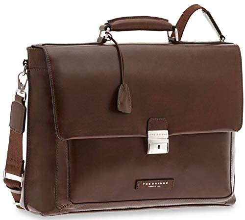 The Bridge Cartella Ventiquattrore Briefcase borsa porta Pc 24ore PELLE tracolla 43x30x12 cm