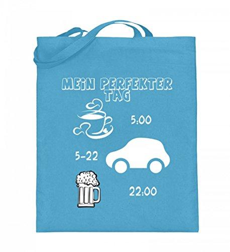 Hochwertiger Jutebeutel (mit langen Henkeln) - Auto - Mein perfekter Tag Hellblau