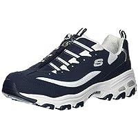 Skechers Women's D'Lites-Zip Along Sneaker, Navy White, 8 M US