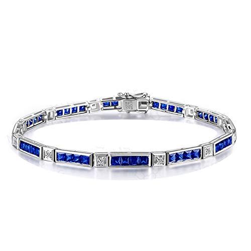 Daesar 18K Weißgold Damen Armband Charm 16.5 CM Diamant 0.11 ct Saphir Hochzeit Armband Echt Diamant