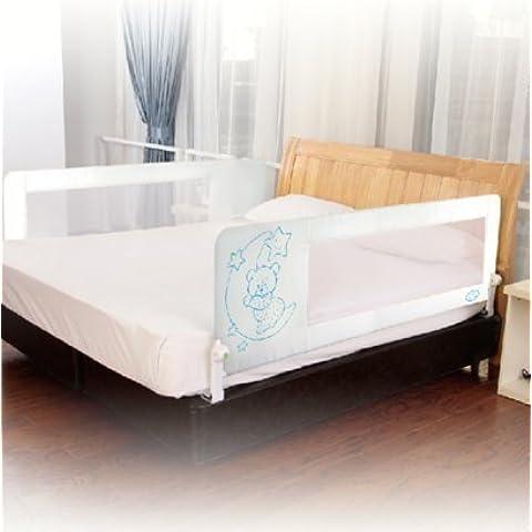 Barrera de cama nido para bebé, 180 cm. Modelo osito y luna azul. Barrera de seguridad.