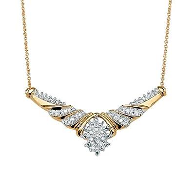 1/10 TCW Diamond Cluster Chevron Necklace in 10k Gold