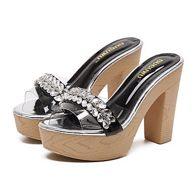 LvYuan Da donna-Sandali-Casual Serata e festa Formale-Club Shoes Comoda-Quadrato-Silicone-Nero Tessuto almond almond