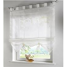 SIMPVALE Condole estilo romano L caida sombra ventana cortina para balcon y de la cocina, beige, 60cm*155cm