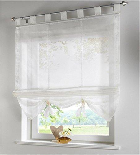 SIMPVALE condole stile romano litri caduta ombra finestra tenda per balcone e cucina, Bianco, 140cm*155cm