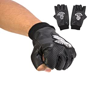 Sons of Anarchy Reaper Logo Fingerless Motorcycle Gloves