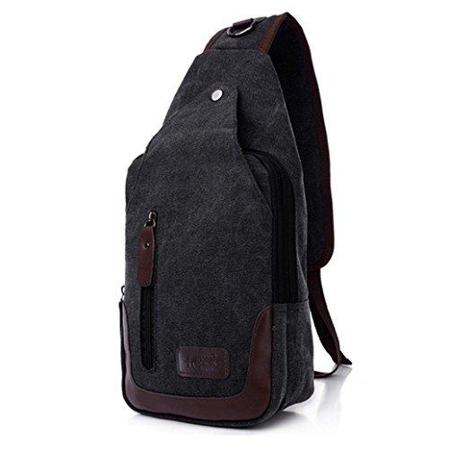 BZLine® Herren Canvas Schulter Outdoor Hiking Crossbody Bag Brusttasche Schwarz